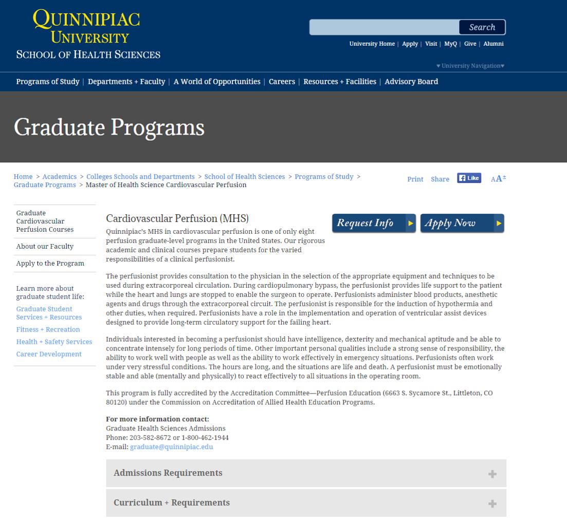Quinnipiac University Cardiovascular Perfusion Program Perfusion